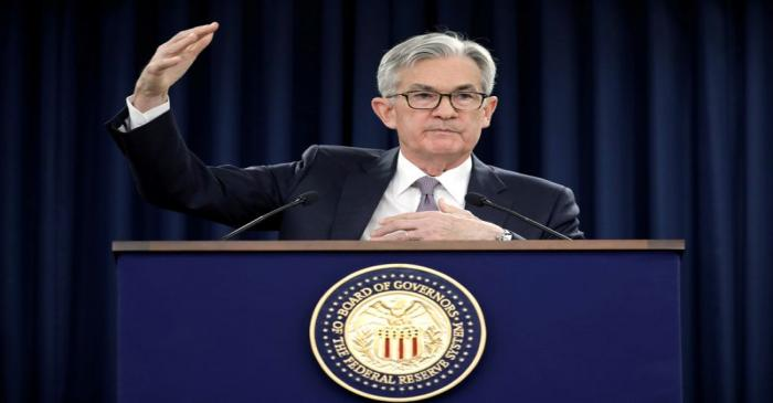 FILE PHOTO: Jerome Powell holds a news conference in Washington