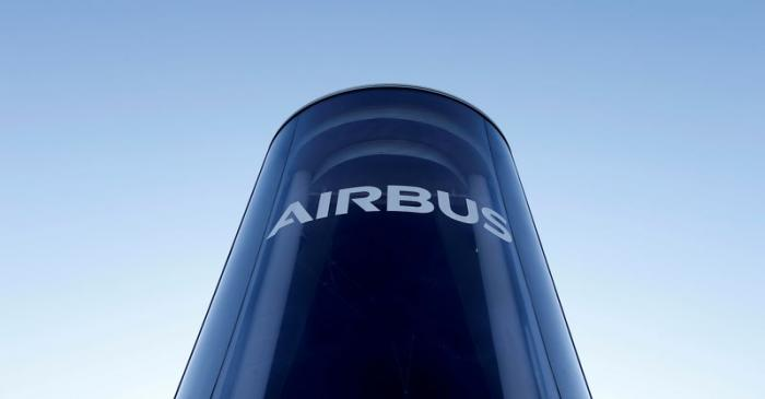 FILE PHOTO: FILE PHOTO: The Airbus logo is pictured at Airbus headquarters in Blagnac near