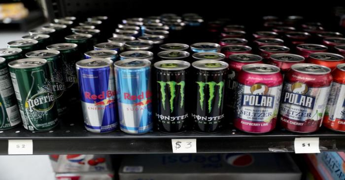 FILE PHOTO: Prices of energy drinks are seen in U.S. dollars at a