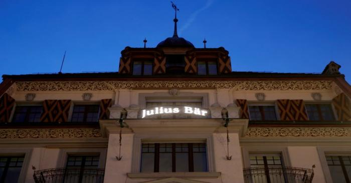 FILE PHOTO: The sign for Swiss bank Julius Baer is seen at a branch office in Luzern