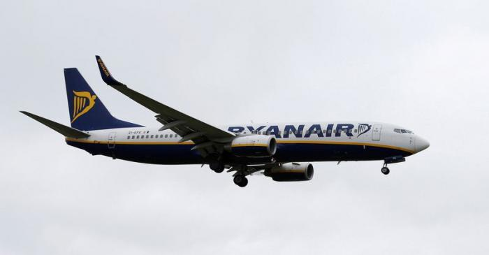 FILE PHOTO:  A Ryanair aircraft lands at Manchester Airport in Manchester