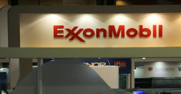 FILE PHOTO: Logo of the Exxon Mobil Corp is seen at the Rio Oil and Gas Expo and Conference in