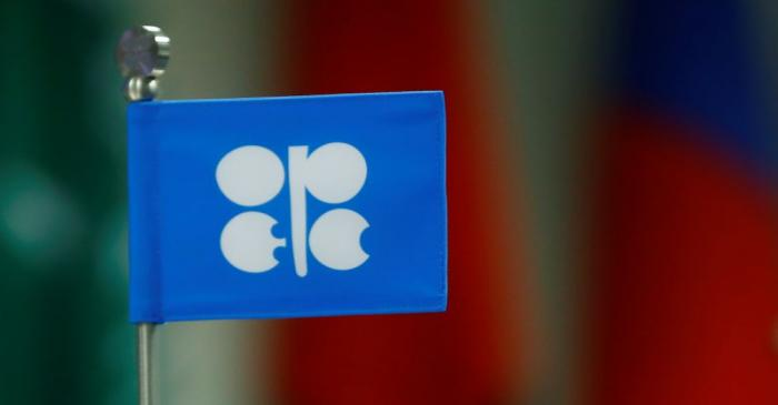 A flag with the Organization of the Petroleum Exporting Countries (OPEC) logo is seen  during a