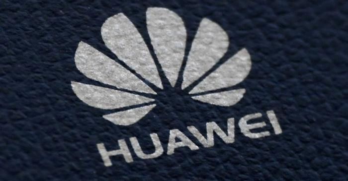 FILE PHOTO: The Huawei logo is seen on a communications device in London, Britain