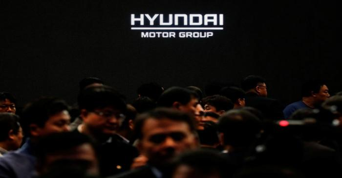Employees of Hyundai Motor Group leave after the company's new year ceremony in Seoul
