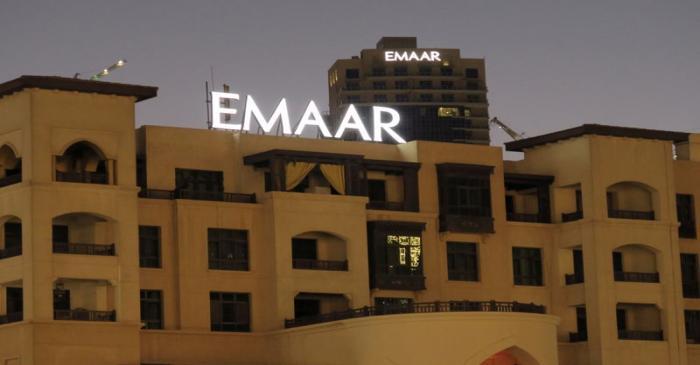 A logo of Dubai's Emaar Properties is seen on a building in Dubai