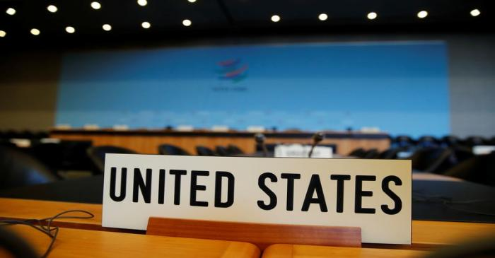 The name place sign of United States is pictured on the country's desk before the General