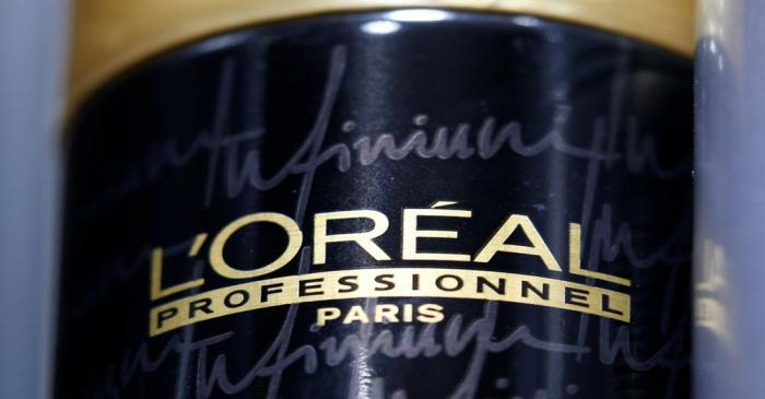 The logo of French cosmetics group L'Oreal is pictured in a retail store in Bordeaux