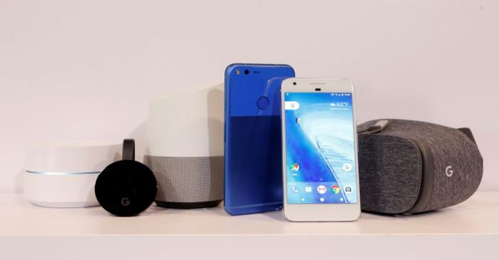 FILE PHOTO: Google products on display during the presentation of new Google hardware in San