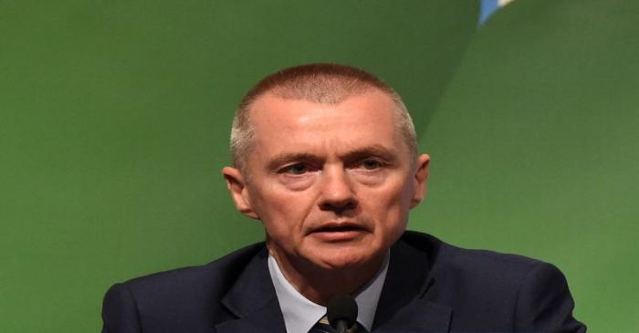 FILE PHOTO: Willie Walsh, CEO of International Airlines Group speaks during the closing press