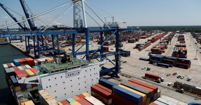 FILE PHOTO: The view from one of the ship-to-shore cranes at Wando Welch Terminal operated by
