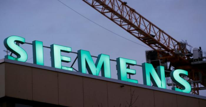 Logo of German industrial group Siemens is seen in Zurich