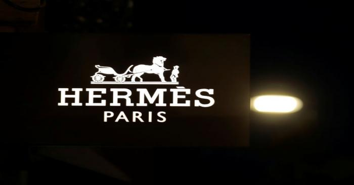 The logo of Hermes is seen at a store in Nice