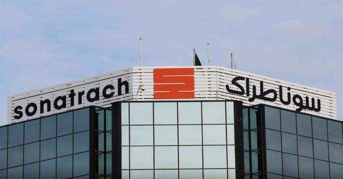 FILE PHOTO: The logo of the state energy company Sonatrach is pictured at the headquarters in