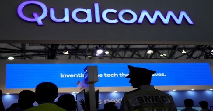 A Qualcomm sign is pictured at Mobile World Congress (MWC) in Shanghai