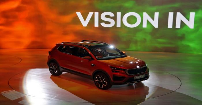 Skoda VISION IN car is on display after it was unvield at an event in New Delhi