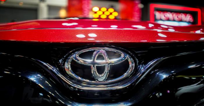 FILE PHOTO: A logo of Toyota is pictured at Bangkok Auto Salon 2019 in Bangkok