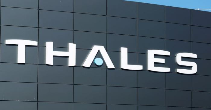 FILE PHOTO: The logo of French defence and electronics group Thales is seen at the company's