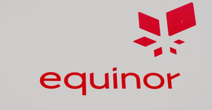 Equinor's logo is seen next to the company's headquarters in Stavanger