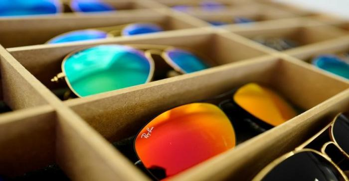 Sunglasses from Ray Ban are on display at an optician shop in Hanau