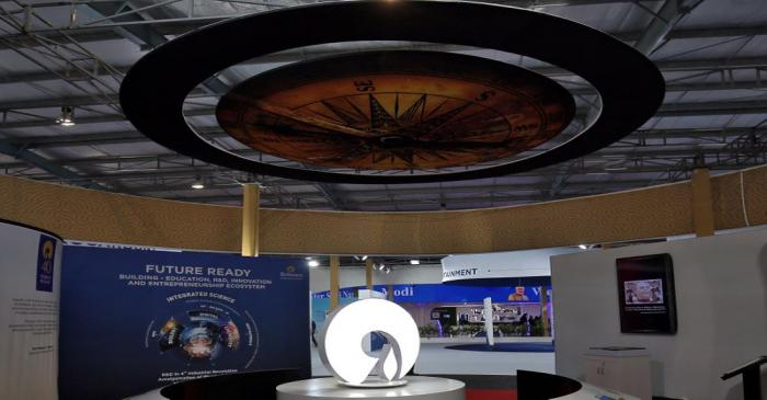 The logo of Reliance Industries is pictured in a stall at the Vibrant Gujarat Global Trade Show