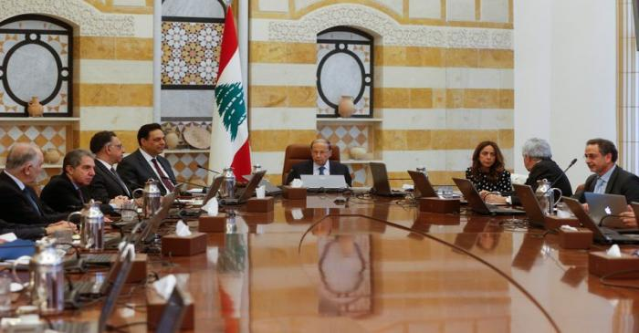 Lebanon's President Michel Aoun heads a cabinet meeting at the presidential palace in Baabda