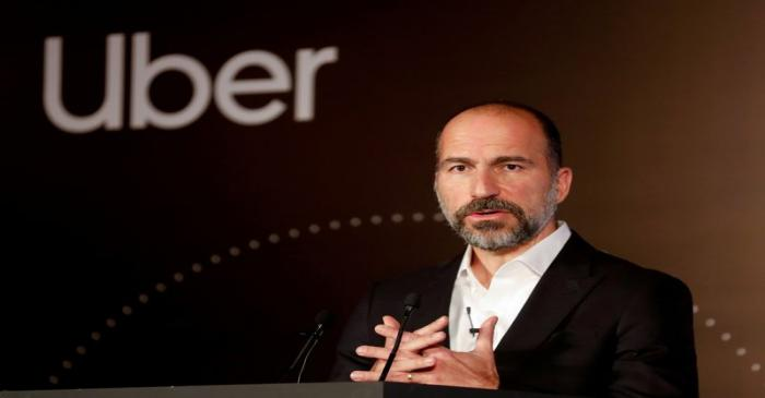 FILE PHOTO: Uber CEO Dara Khosrowshahi speaks to the media at an event in New Delhi