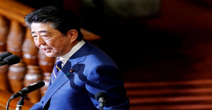 Japanese Prime Minister Shinzo Abe gives a policy speech at the start of the regular session of
