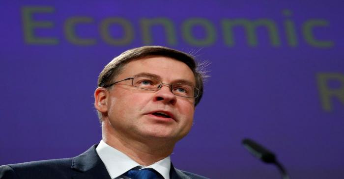 EU Commissioner Dombrovskis addresses a news conference in Brussels