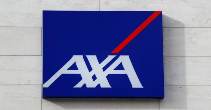 Logo of insurer Axa is seen at the entrance of the company's headquarters in Brussels