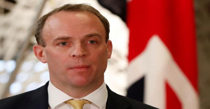 British Foreign Secretary Dominic Raab attends their joint news conference with Japanese
