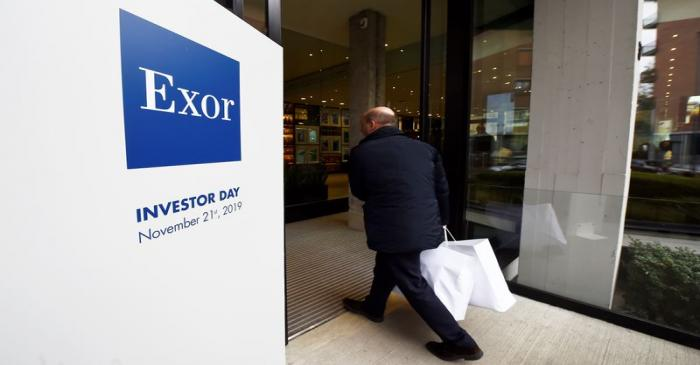 Exor logo is seen on investor day held by holding group in Turin