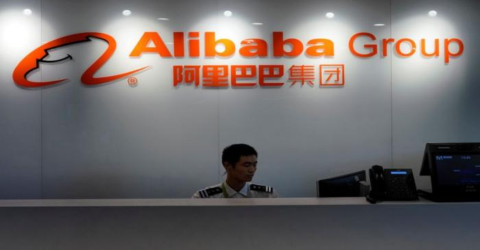 The logo of Alibaba Group is seen inside DingTalk office, an offshoot of Alibaba Group Holding