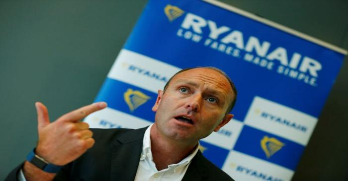 FILE PHOTO: Jacobs, Chief Marketing Officer of Ryanair addresses the media during a news