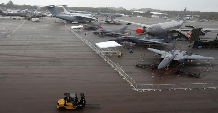 A general view of the static display of aircrafts during a media preview of the Singapore
