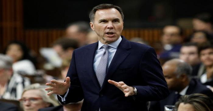 Canada's Minister of Finance Morneau speaks during Question Period in Ottawa