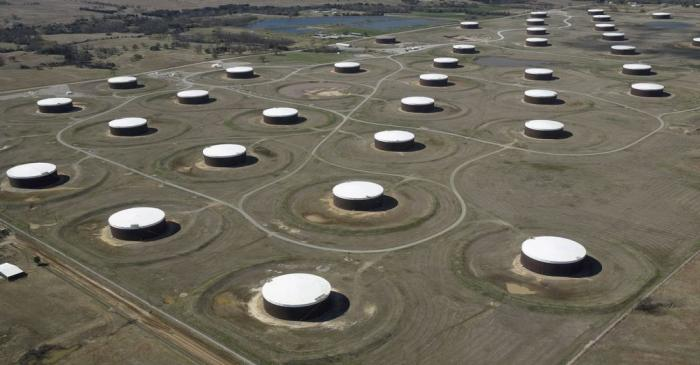 FILE PHOTO: Crude oil storage tanks at the oil hub in Cushing, Oklahoma