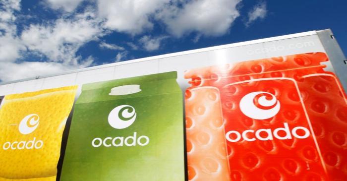 FILE PHOTO:  An Ocado truck returns to the Ocado depot in Hatfield, southern England