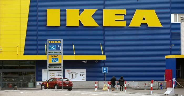 The company's logo is seen outside of an IKEA Group store in Dietlikon