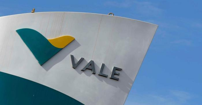 FILE PHOTO: The logo of the Brucutu mine owned by Brazilian mining company Vale SA is seen in