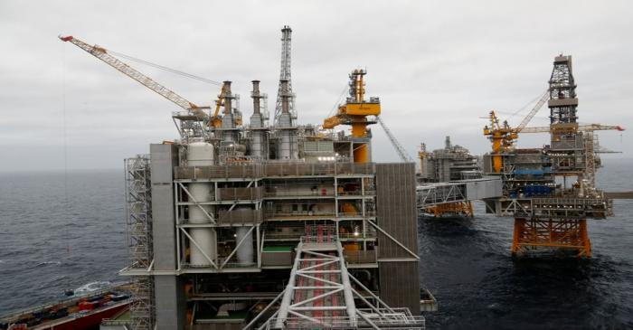 FILE PHOTO: A general view of Johan Sverdrup oilfield platforms in the North Sea, Norway