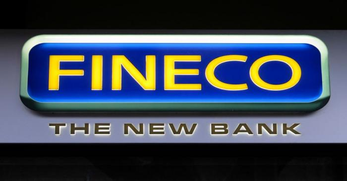 The Fineco bank logo is seen in downtown Rome