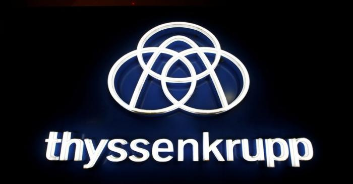 buThyssenkrupp's logo is seen outside elevator test tower in Rottweil