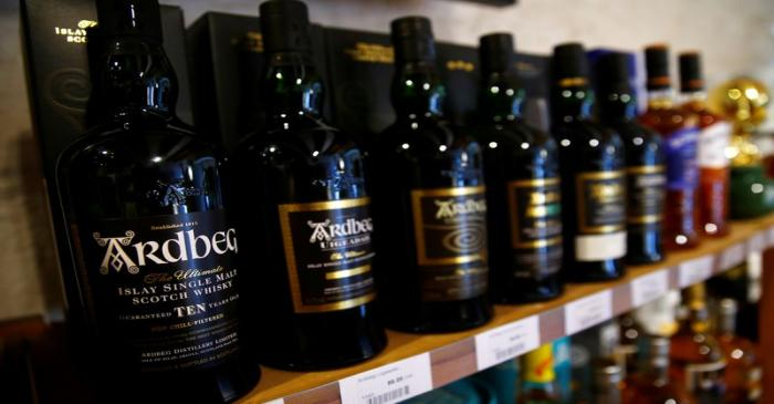Bottles of single malt scotch whisky Ardbeg are pictured in a shop near Lausanne