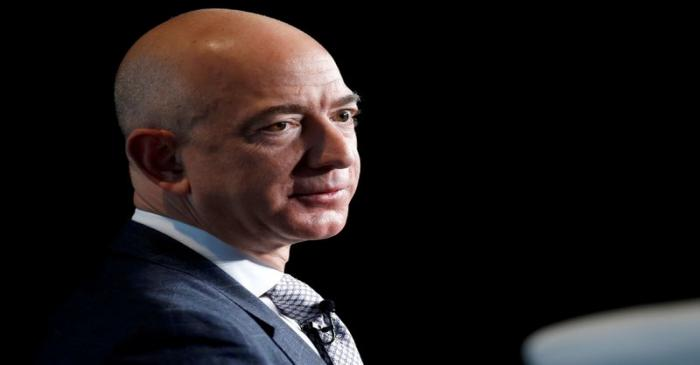 FILE PHOTO: Jeff Bezos, founder of Blue Origin and CEO of Amazon, speaks about the future plans