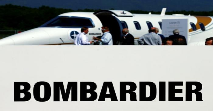 FILE PHOTO: Bombardier sign is pictured at the static display of aircraft in Geneva