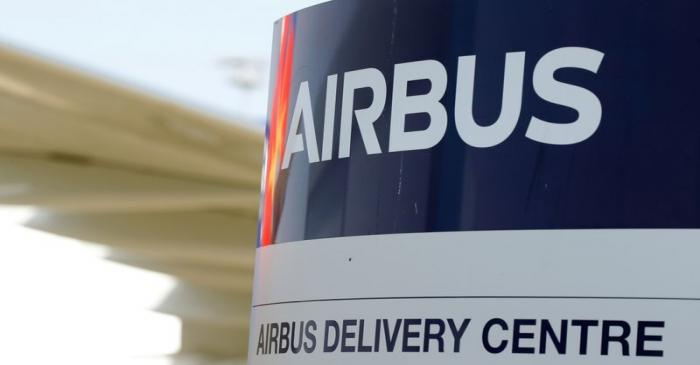 FILE PHOTO: Logo of Airbus is pictured at the aircraft builder's headquarters of Airbus in