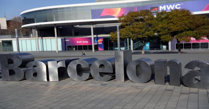 FILE PHOTO: Employee walks at Fira de Barcelona after the Mobile World Congress (MWC) was