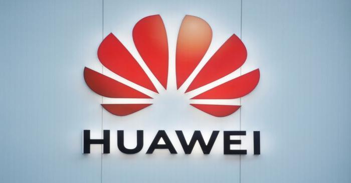 Logo of Huawei is seen in Davos