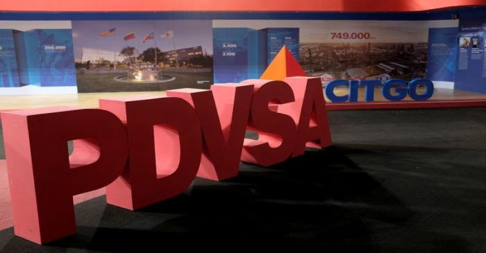 FILE PHOTO: The corporate logos of the state oil company PDVSA and Citgo Petroleum Corp are
